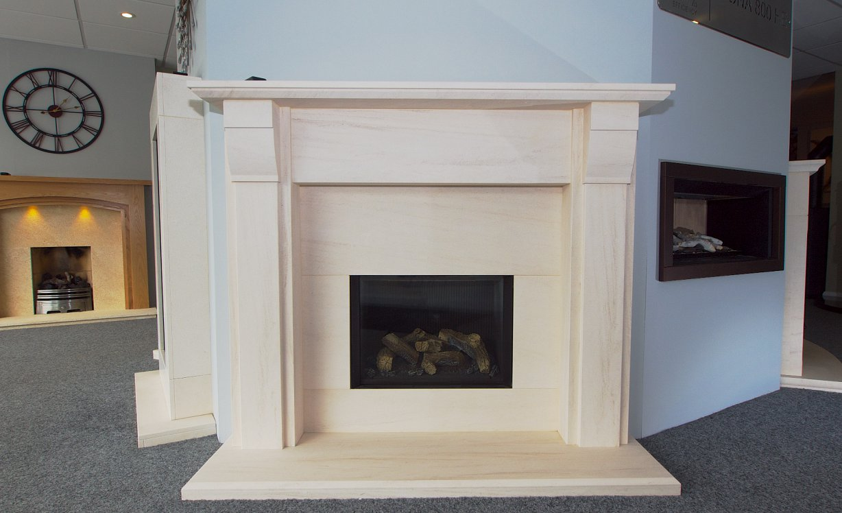 Traditional limestone fireplace