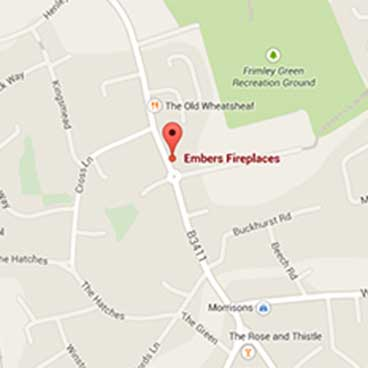 Embers Fireplaces showroom is in Frimley Green, near Camberley